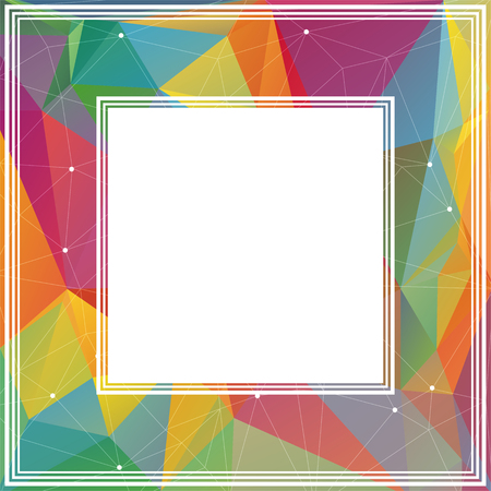 coloured background: Polygonal abstract border with blue and pink triangles. Illustration