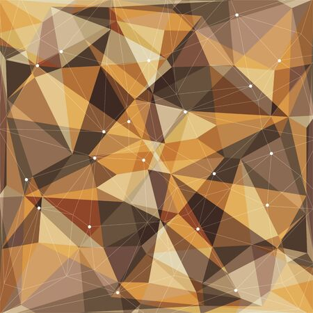 polyhedron: Polygonal abstract background with beige and brown triangles. Illustration