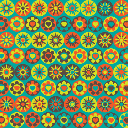 multicolored: Abstract background with multicolored flowers and stars. Illustration