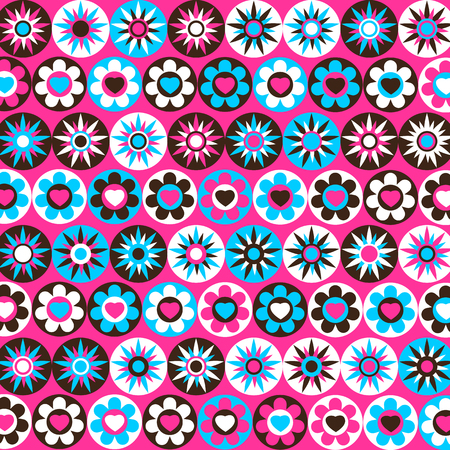 multicolored: Abstract pink with multicolored flowers and stars.