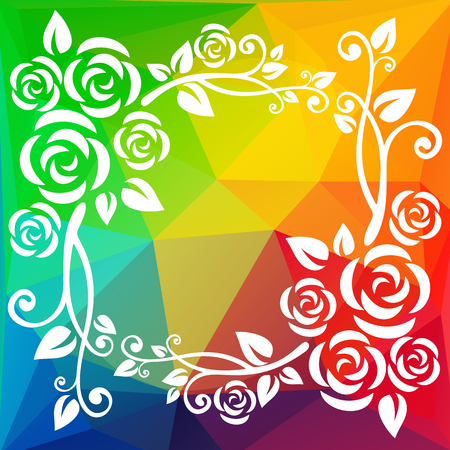 floral border: Abstract floral border on a  polygonal background. Illustration