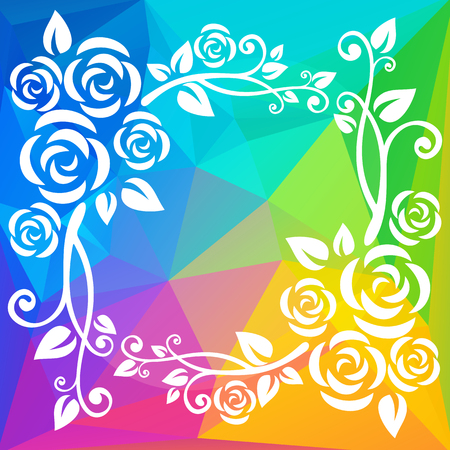 abstract rainbow: Abstract floral border on a rainbow polygonal background.