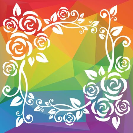 floral border: Abstract floral border on a rainbow background. Illustration