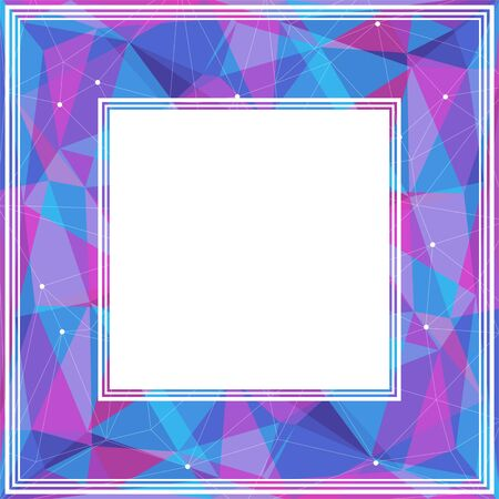 blue violet: Polygonal abstract border with blue and violet triangles.