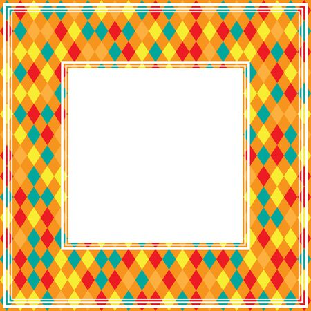 drawings image: Abstract border with orange-blue rhombuses. Illustration