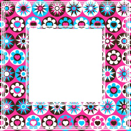 colorful frame: Abstract pink border with multicolored flowers and stars. Illustration
