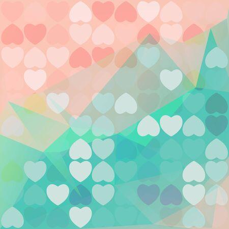 poligonal fondo abstracto con corazones azules y rosas.