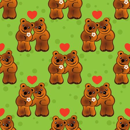 stylish couple: Two cartoon bears on a green background. Seamless pattern. Illustration