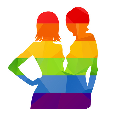 black lesbian: Two rainbow woman silhouette isolated on a white background.