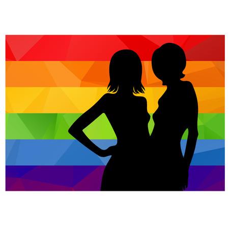 amarillo y negro: Dos silueta de la mujer negro con la bandera de rayas multicolores.