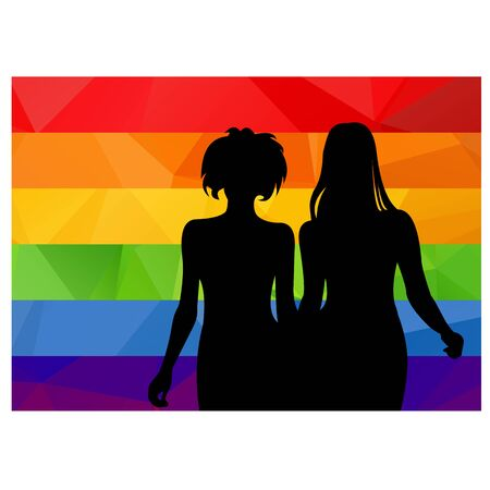 black lesbian: Two girls silhouette with multicolored striped flag. Illustration