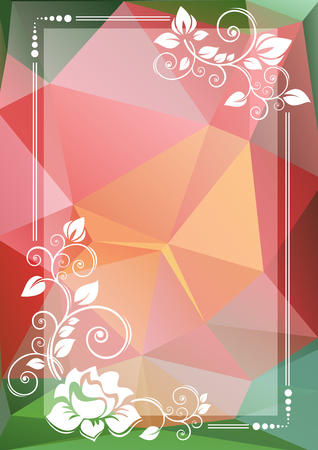 curve creative: Abstract floral border on a pink and green background.