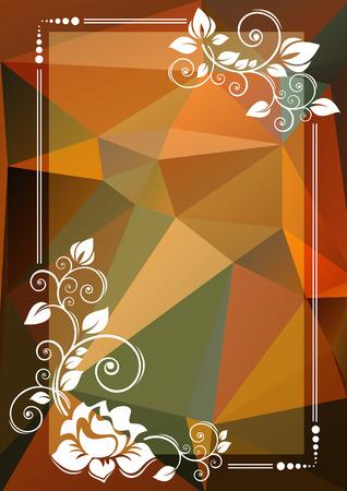 bordes decorativos: frontera floral abstracto sobre un fondo de color naranja y verde oscuro.