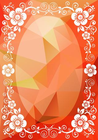 scarlet: Abstract floral border on a scarlet polygonal background. Illustration
