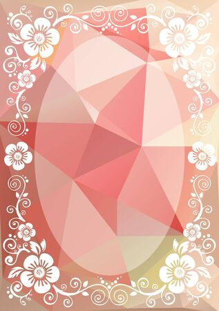 curve creative: Abstract floral border on a light pink polygonal background.