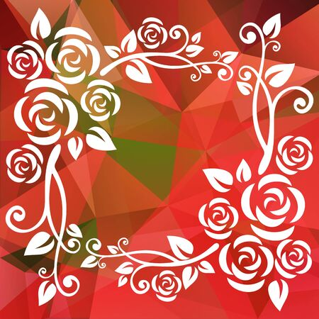 red and white: Abstract floral polygonal border on a red and green background.