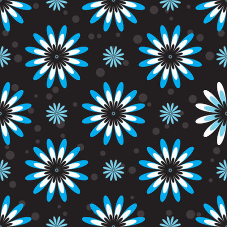 whiteblue: Seamless pattern with white-blue flowers on a dark background.
