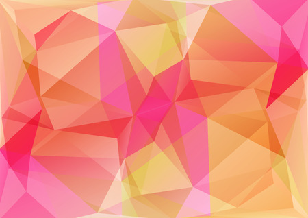 Polygonal background with pink and beige triangles.