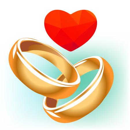 anillos boda: El corazón rojo con anillos aislados en un fondo blanco.