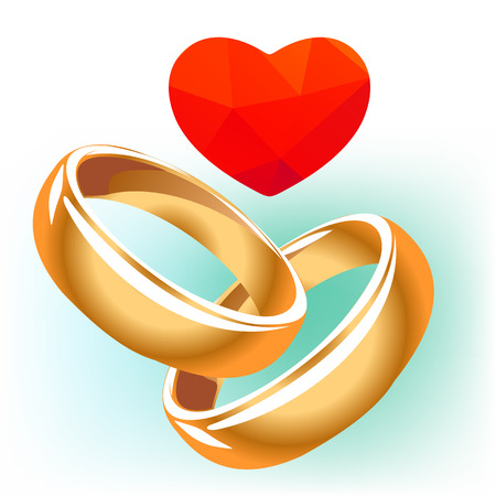 Cuore rosso con anelli di nozze isolato su uno sfondo bianco.