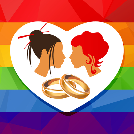 civil rights: Lesbian couple and wedding rings on a rainbow background.