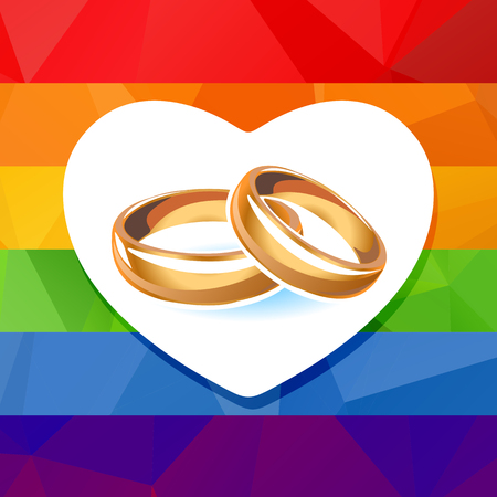 boda gay: Dos anillos de boda en un arco iris de fondo con la silueta cardíaca.