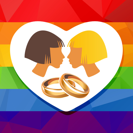 lady in red: Lesbian couple silhouettes and wedding rings on a rainbow background.