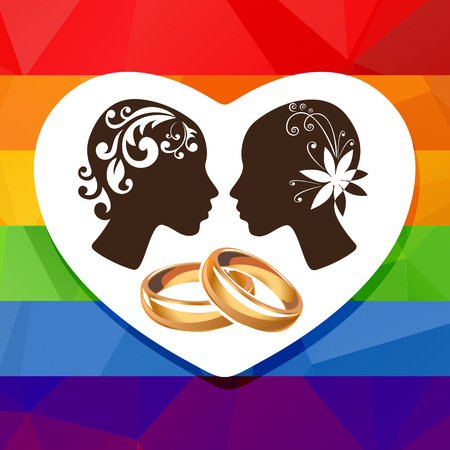 tolerance: Girl couple silhouettes and wedding rings on a rainbow background. Illustration