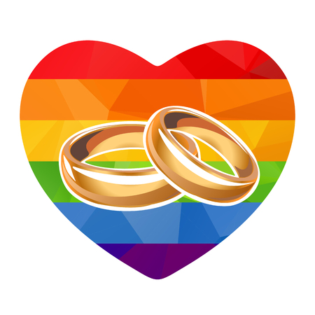 Two wedding rings on a rainbow striped polygonal heart.