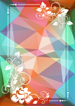 curve creative: Abstract floral border on a brown-blue polygonal background.