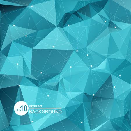 Polygonal fond abstrait avec des triangles bleus lumineux. Vecteurs