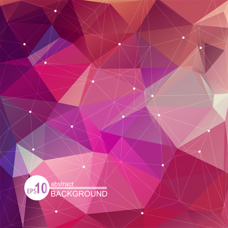 red abstract: Polygonal abstract background with violet and pink triangles. Illustration