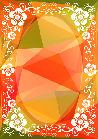 Abstract floral border on a green-orange polygonal background. Illustration