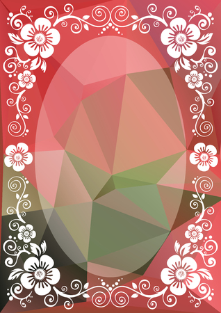 Abstract floral border on a pink-green polygonal background.