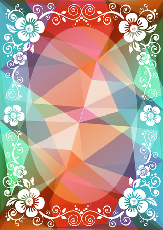 Abstract floral border on a brown-blue polygonal background.