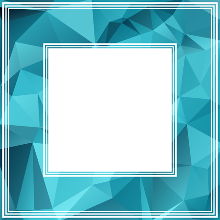 blue border: Polygonal abstract border with bright blue triangles.
