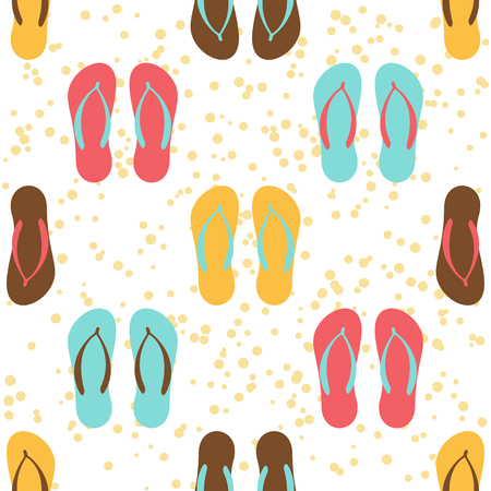 pink and brown background: Bright flip flops seamless pattern on a white background.