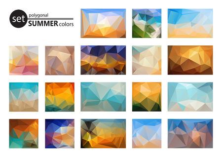 sunsets: Polygonal backgrounds set, looks like stylized sunsets and sunrise. Summer colors.