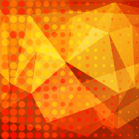 Polygonal abstract background with golden and orange triangles. Illustration