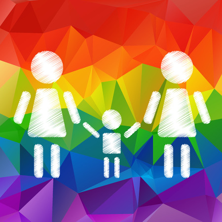 relationships human: Lesbian family with kid on a rainbow background.