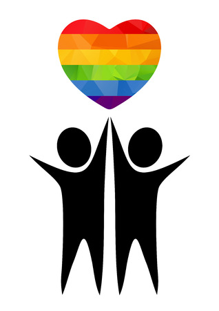 relationships human: Two boy silhouettes with rainbow heart. Gay couple symbol.