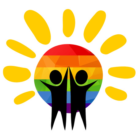 homosexual couple: Two men silhouettes with sun. Gay couple symbol. Illustration