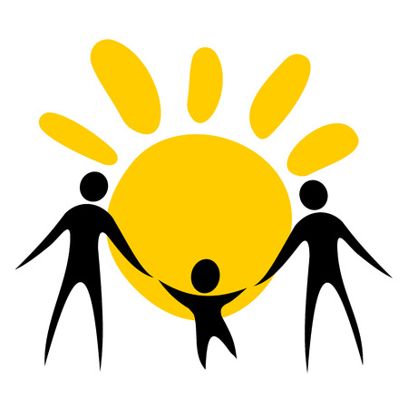 Two men silhouettes with sun. Gay couple symbol. Illustration