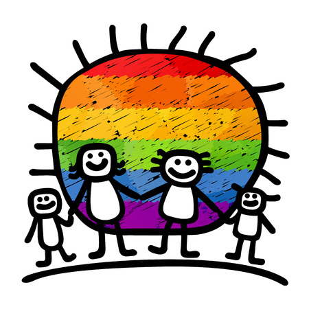 Gay family with children isolated on a white background.