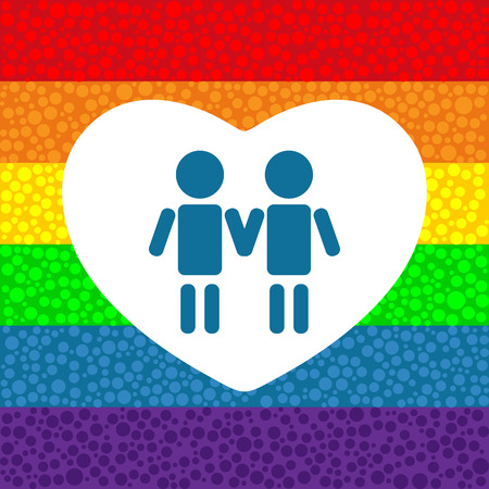 tolerance: Gay couple with heart on a rainbow background.