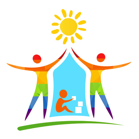 gay family: Gay family with child. Happiness symbol. Illustration
