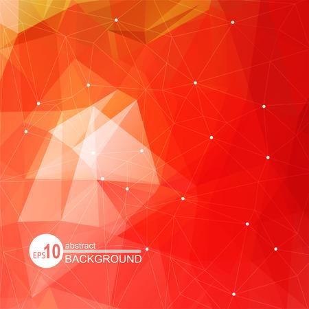 Polygonaler abstrakter Hintergrund mit hellen und hellen roten Dreiecken.