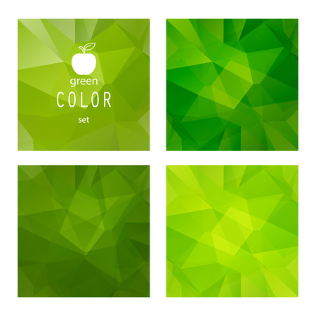 manzana verde: Conjunto de fondos abstractos de manzana verde poligonales.