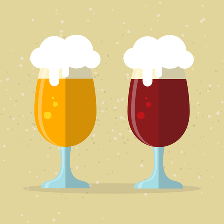 Two stylized beer glasses. Flat design.
