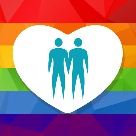 Gay couple silhouette on a rainbow polygonal background.